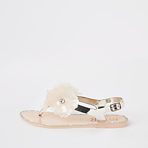 Girls gold floral jelly sandals