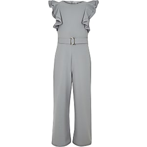 Girls grey ruffle belted jumpsuit