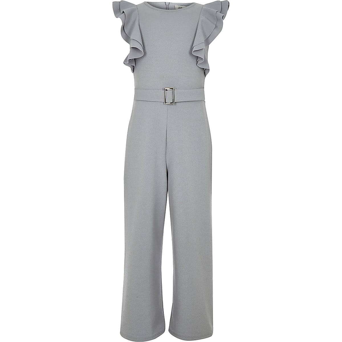 63fb5be9dd8 Girls grey ruffle belted jumpsuit