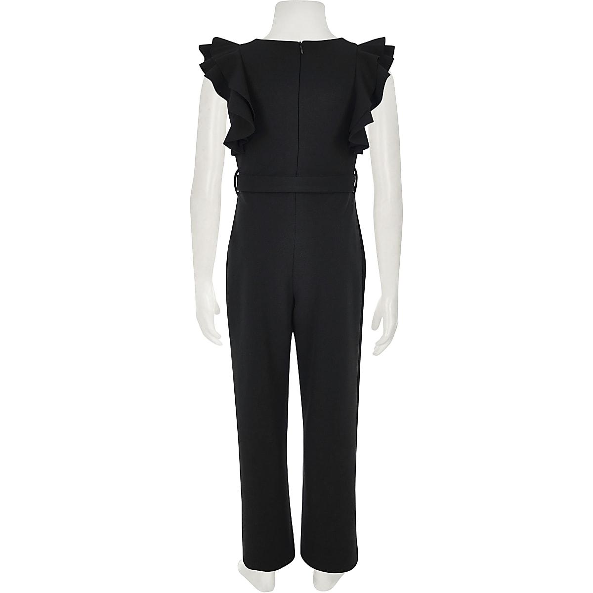 0322e7bd3d1 Girls black ruffle belted jumpsuit