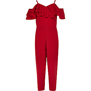 Girls red frill cold shoulder jumpsuit