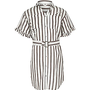 Girls coral stripe shirt dress