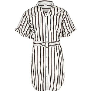 Robe chemise rayée corail pour fille