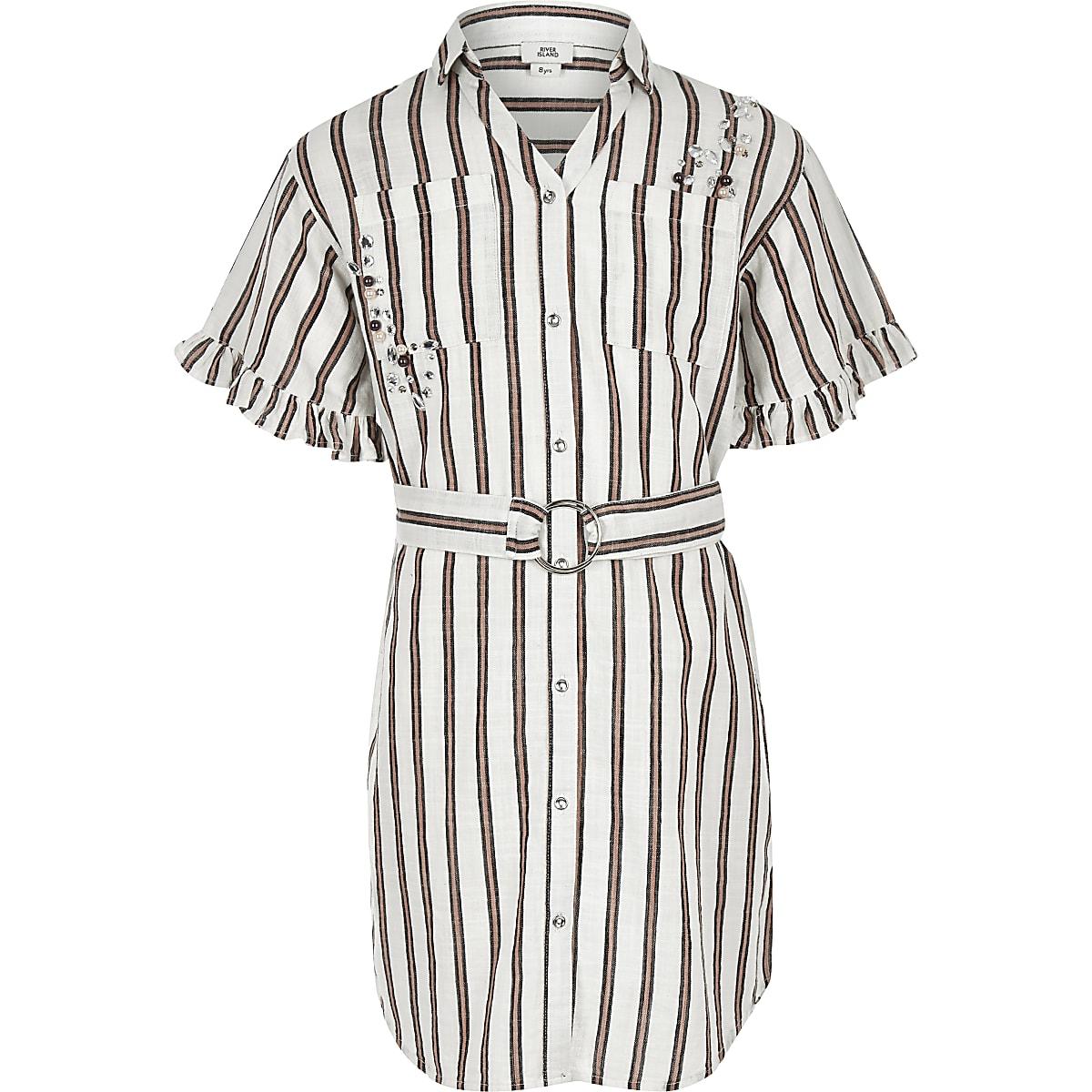Girls coral stripe shirt dress
