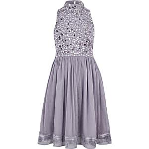 Robe de gala lilas à fleurs et sequins pour fille