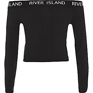 Zwarte bardottop met RI-logo en lange mouwen