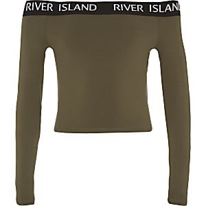 Girls khaki RI long sleeve bardot top