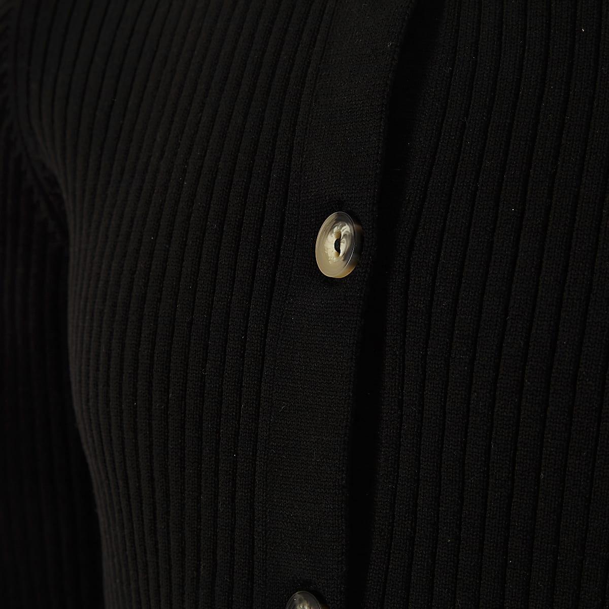 71a49d4d3d5075 Girls black ribbed frill hem cardigan - Cardigans / Jumpers - Tops ...