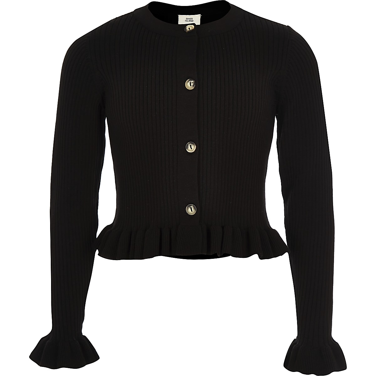 Girls black ribbed frill hem cardigan