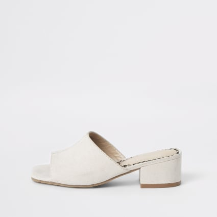 Girls cream peep toe mule