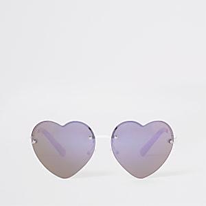 Lunettes de soleil en forme de cœur roses pour fille