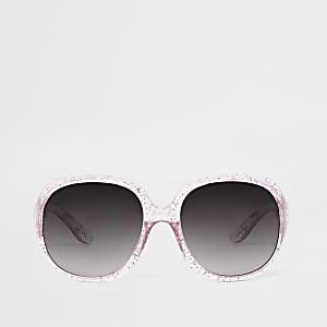 Lunettes de soleil roses pailletées glamour pour mini fille