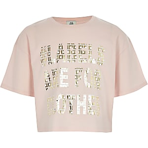 Roze Ditch the Label cropped T-shirt voor kinderen