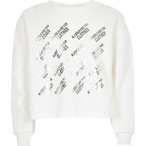Kids white Ditch the Label crop sweatshirt