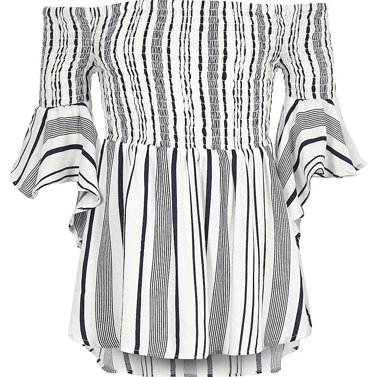 Girls blue stripe bardot flute sleeve top