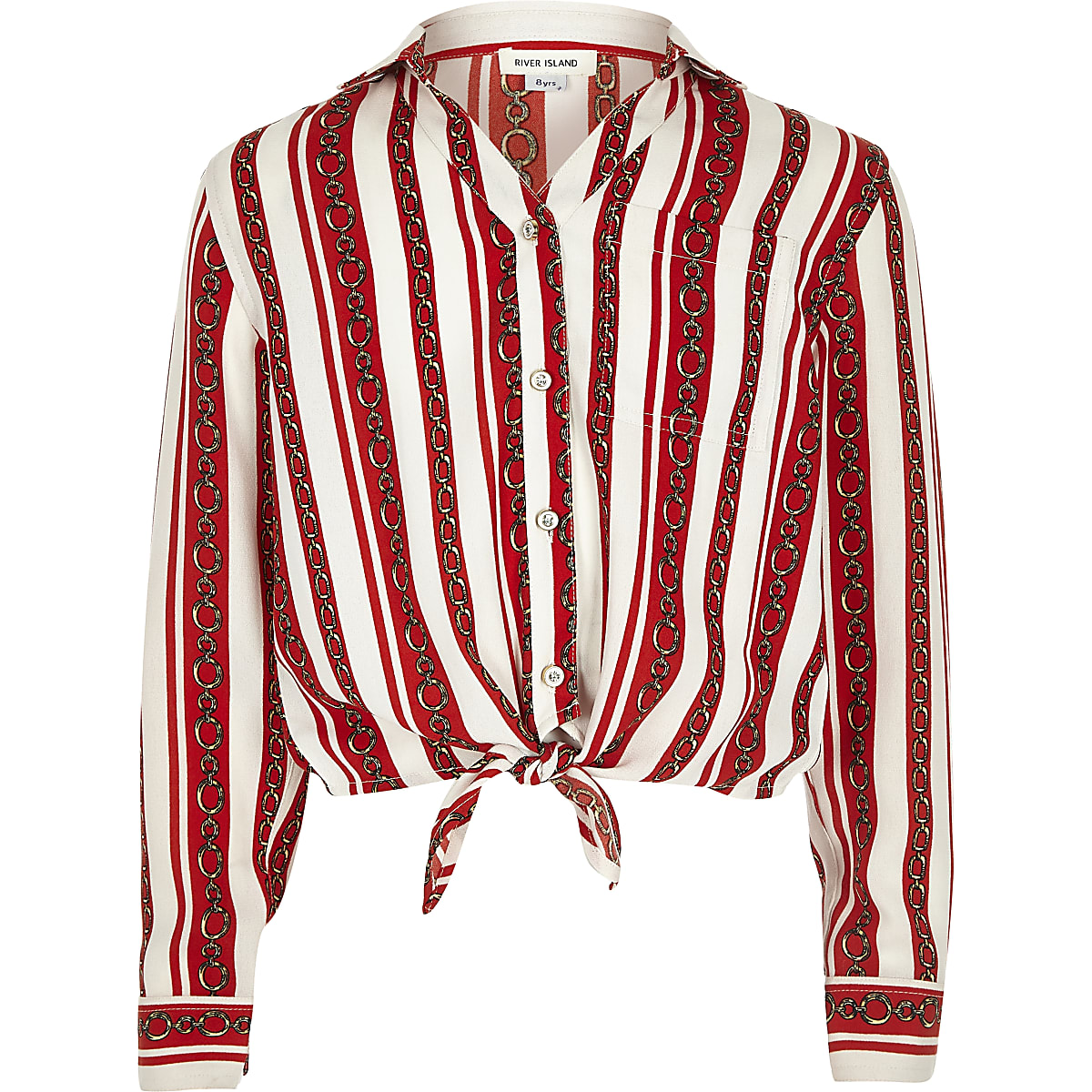 Girls red chain stripe print tie front shirt