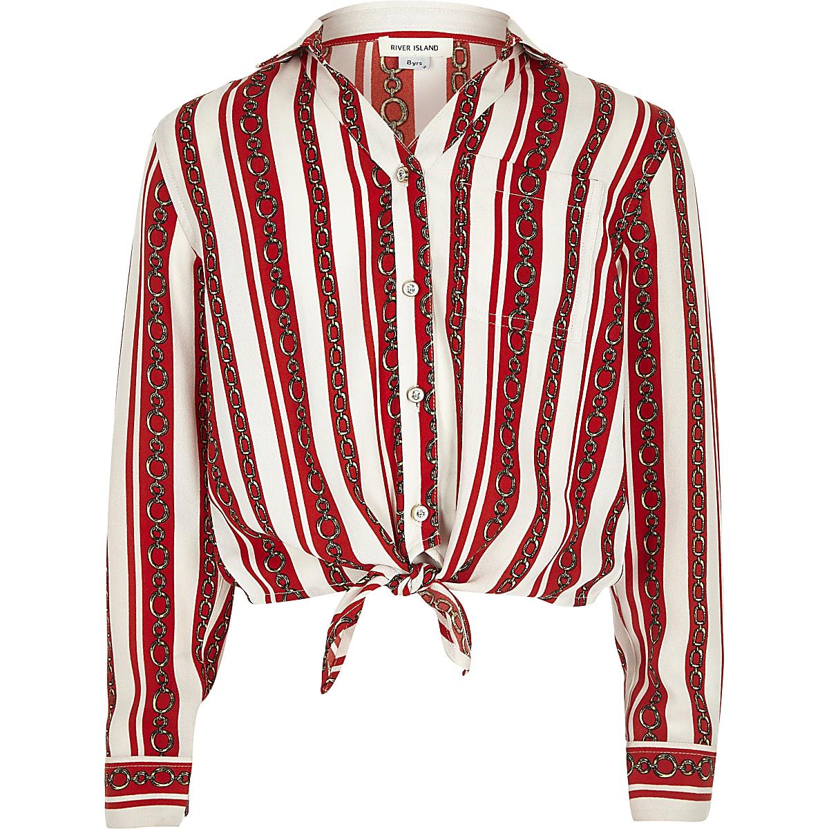 Girls red chain stripe print tie front shirt