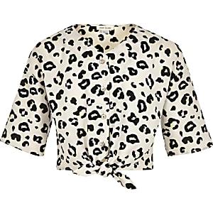 Blouse imprimé léopard crème nouée sur le devant pour fille