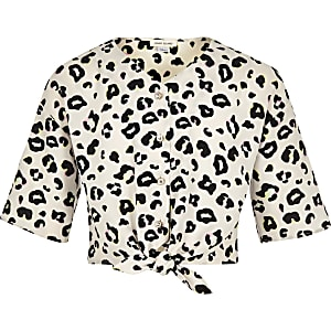Crème blouse met luipaardprint en strik voor meisjes