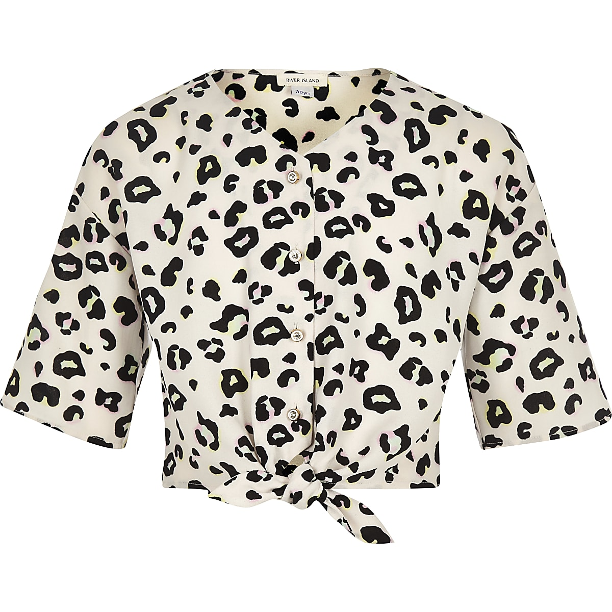 Girls cream leopard print tie front blouse