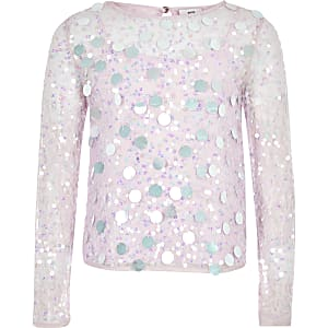 Girls purple sequin long sleeve top
