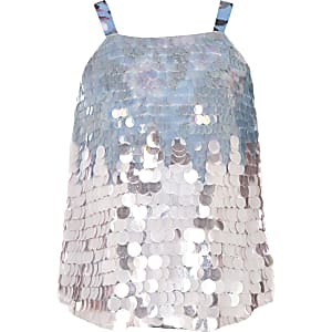 Girls blue sequin cami top