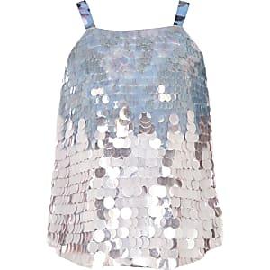 Girls blue sequin cami top