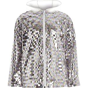 Girls silver sequin embellished rain mac
