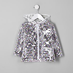 Mini girls multi sequin embellished rain mac