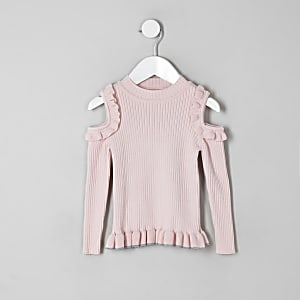 Mini girls pink cold shoulder frill sweater