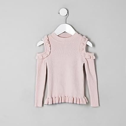 Mini girls pink cold shoulder frill jumper