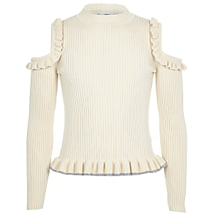Girls cream cold shoulder frill jumper