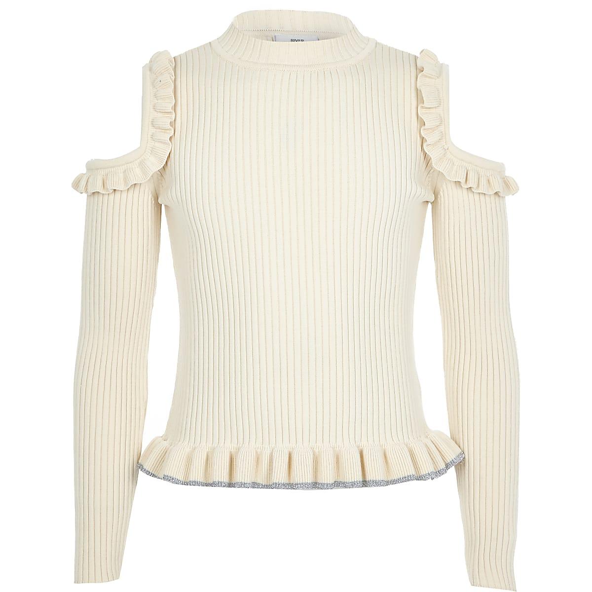 Girls cream cold shoulder frill jumper