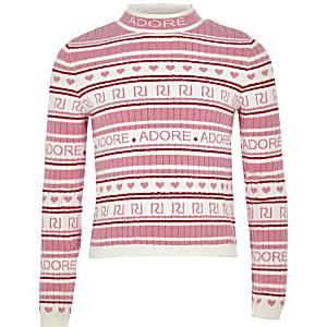 Girls pink RI 'Adore' knit jumper