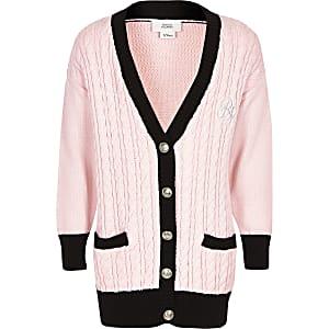 Cardigan en maille torsadée rose à logo RI pour fille