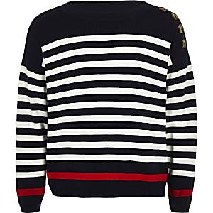 Girls navy stripe jumper