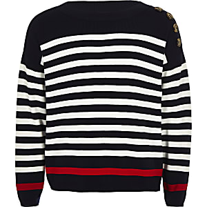 Girls navy stripe sweater
