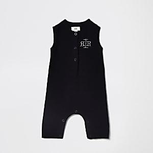Barboteuse RI en maille bleu marine pour bébé