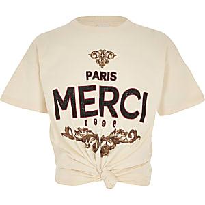 Crème T-shirt met 'Merci'-print en knoop voor meisjes