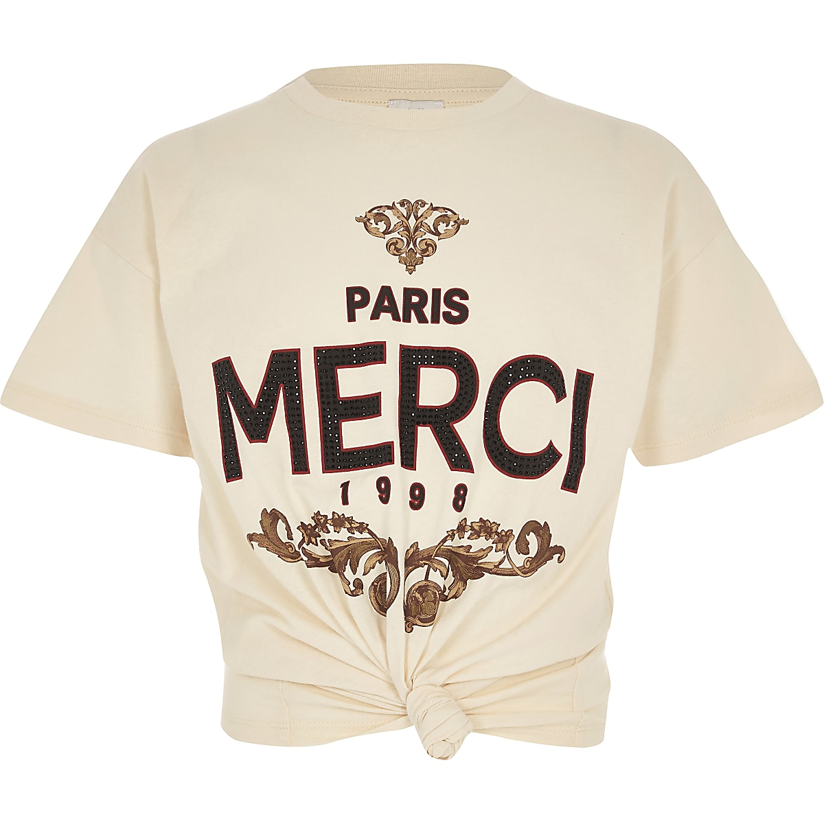 Girls cream 'Merci' knot front T-shirt