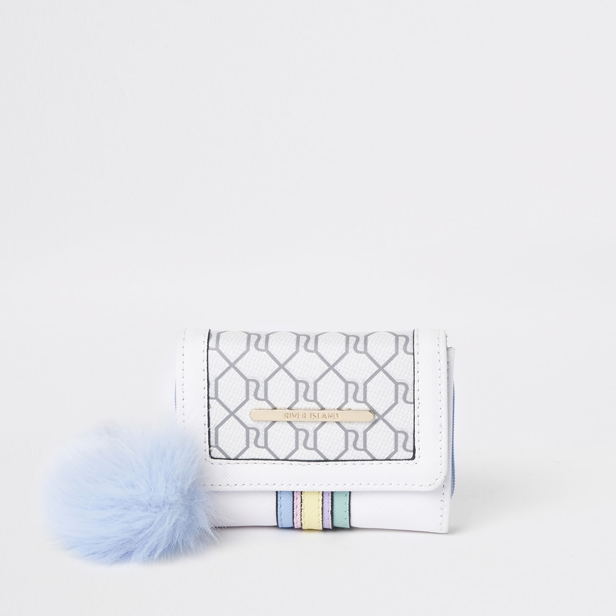 Girls cream RI rainbow trifold purse