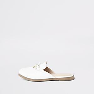 Witte loafers zonder hielbandje met RI-monogram voor meisjes
