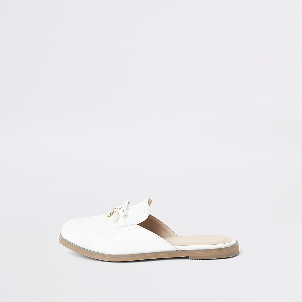 Girls white RI monogram backless loafers