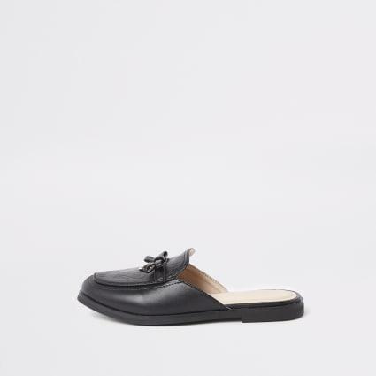 Girls black RI monogram backless loafers