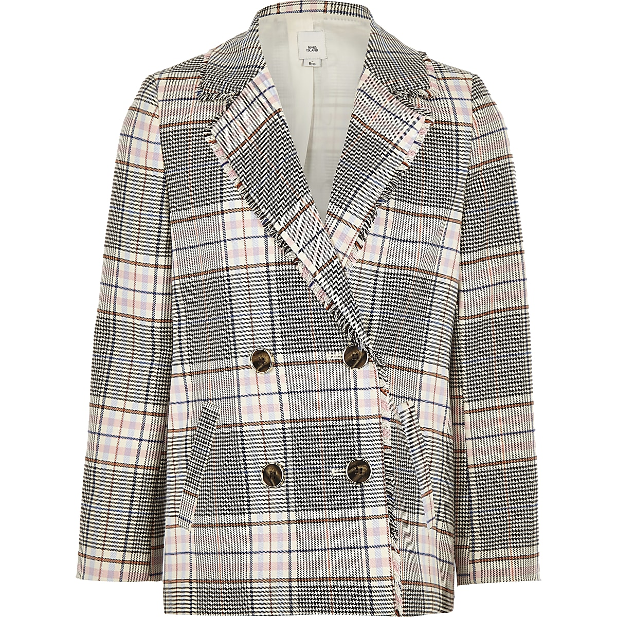Girls cream check double breasted blazer