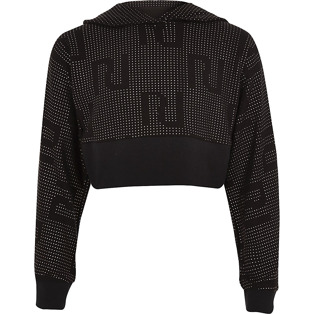 Girls black RI Active hooded stud crop top