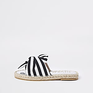 Girls black stripe bow espadrille sandals
