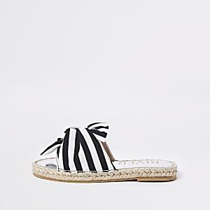 Sandales espadrilles noires à nœud rayé pour fille
