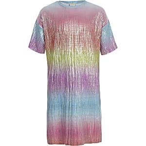 Roze plissé T-shirtjurk voor meisjes