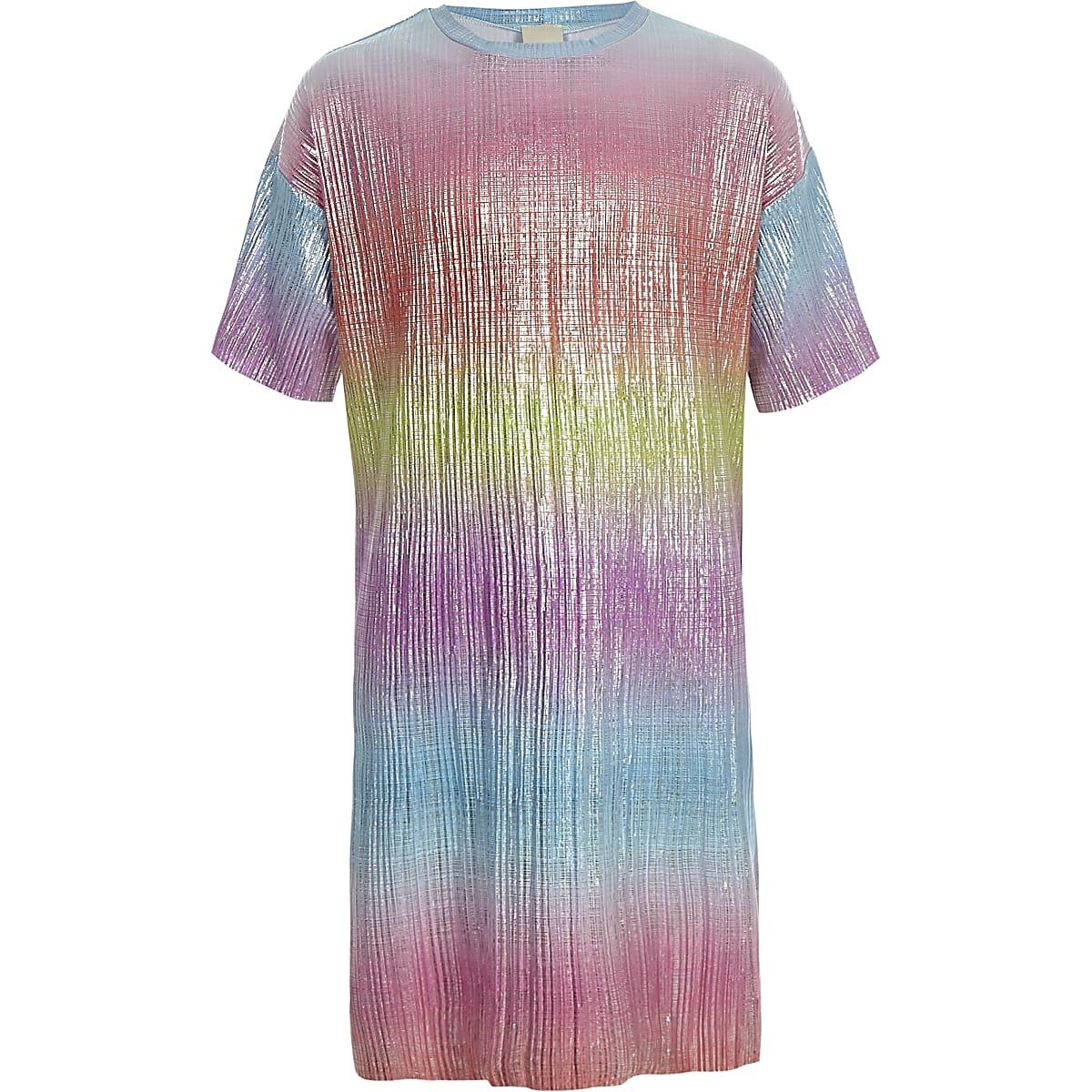 Girls pink rainbow plisse T-shirt dress